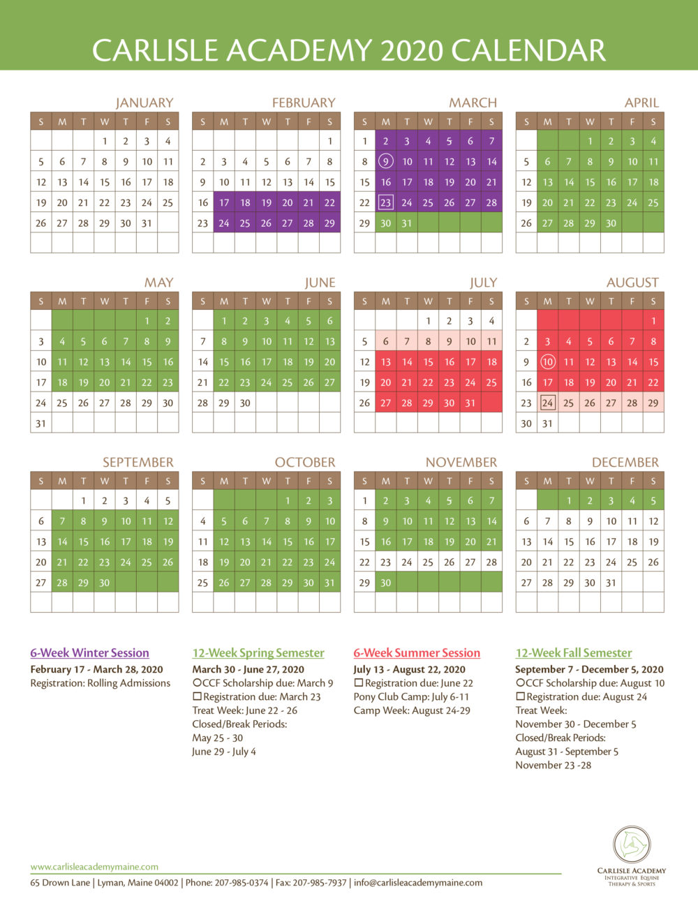 Carlisle 2020 calendar