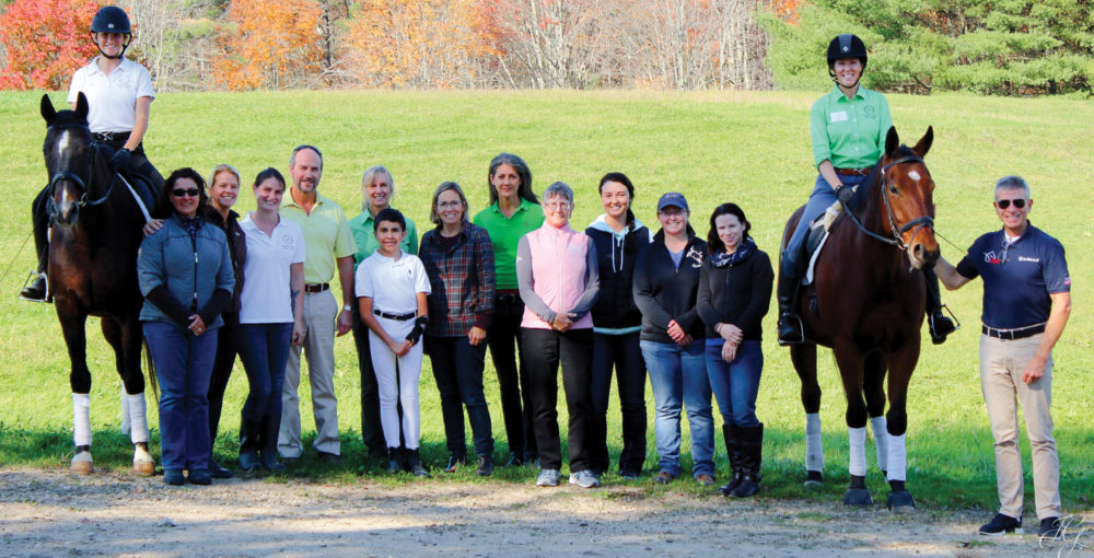 group photo of para equestrian clinic