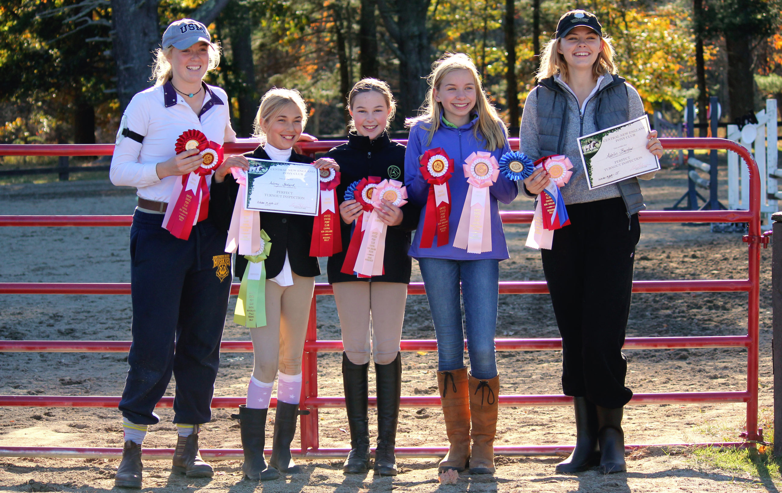 photo showing pony clubbers with their awards