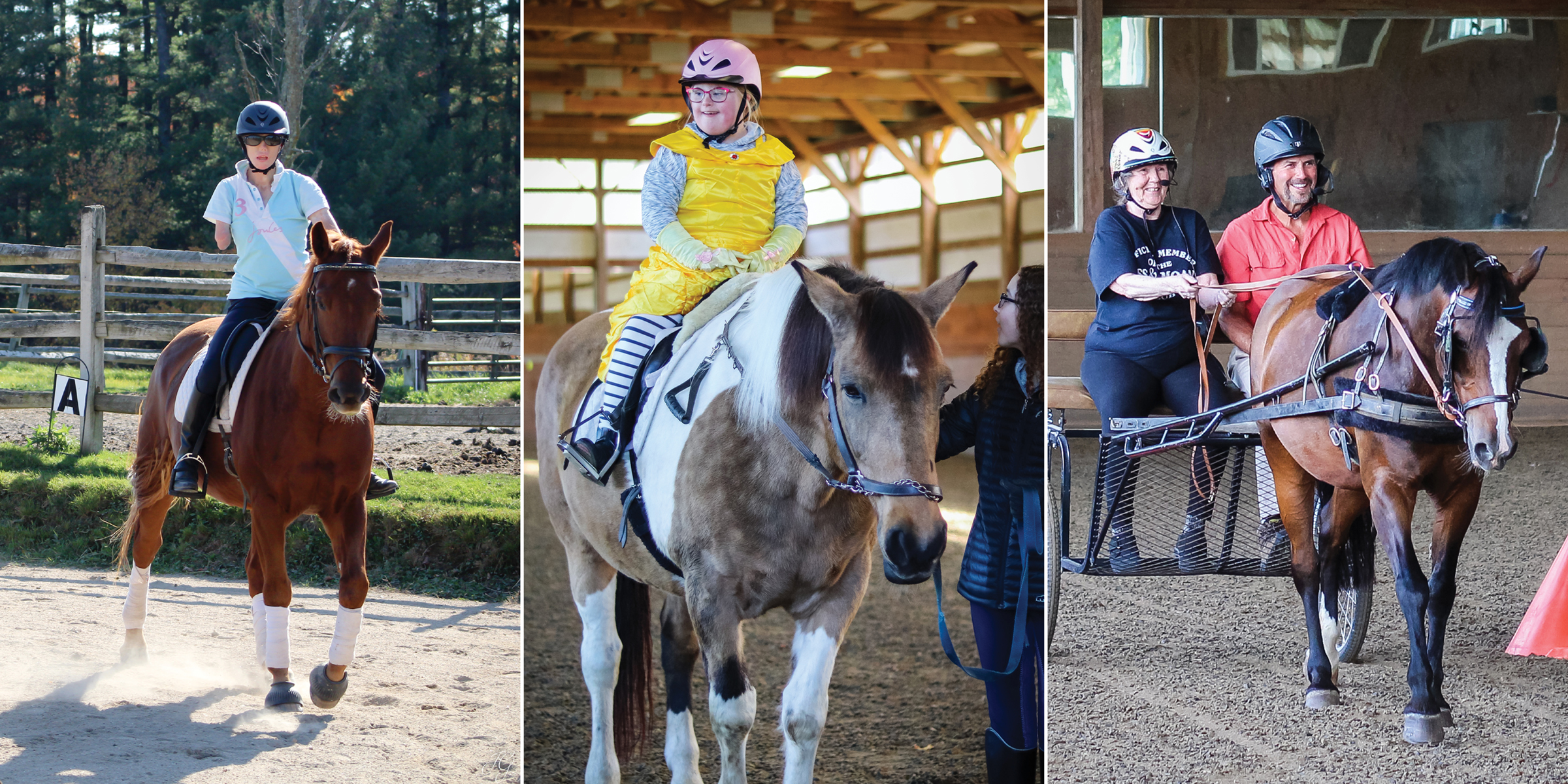 collage of various adaptive and para sports riders