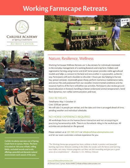 Working Farmscape Retreats Flyer