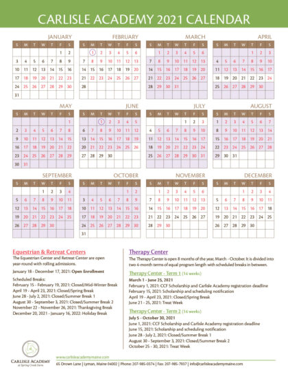 2021 program calendar